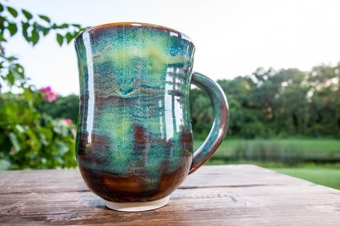 Forest Green Handmade Coffee Mug - Large Oversized mug
