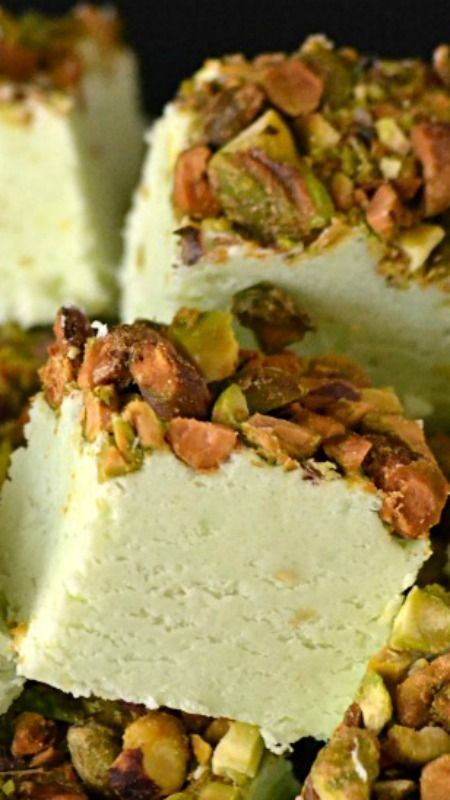 Pistachio Fudge ~ Creamy on the inside and salty on top.