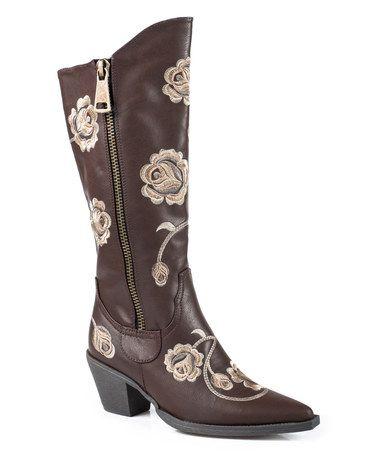 Look at this #zulilyfind! Brown Floral Side-Zip Leather Boot - Women #zulilyfinds