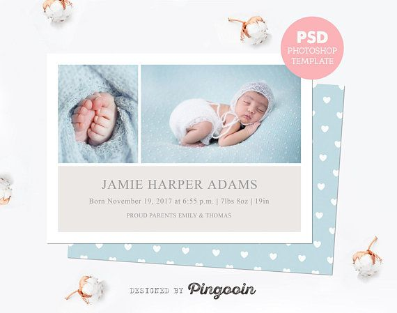 Birth announcement template Newborn card Baby announcement