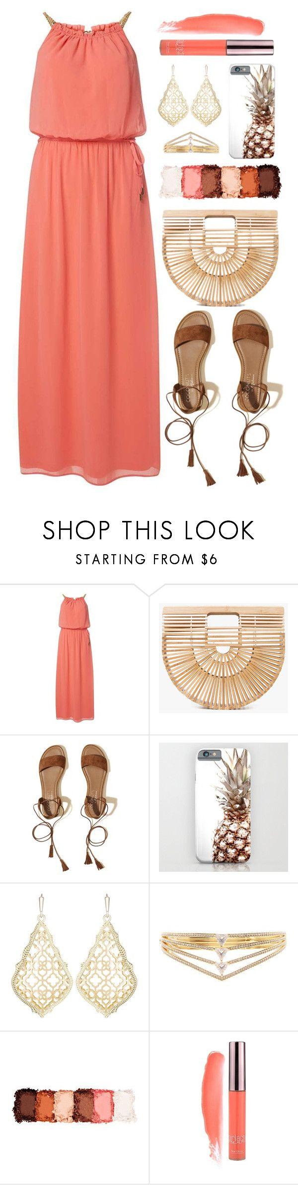 """""""OOTD - Coral Maxi Dress"""" by by-jwp ❤ liked on Polyvore featuring Dorothy Perkins, Cult Gaia, Hollister Co., Kendra Scott, Nadri and NYX"""