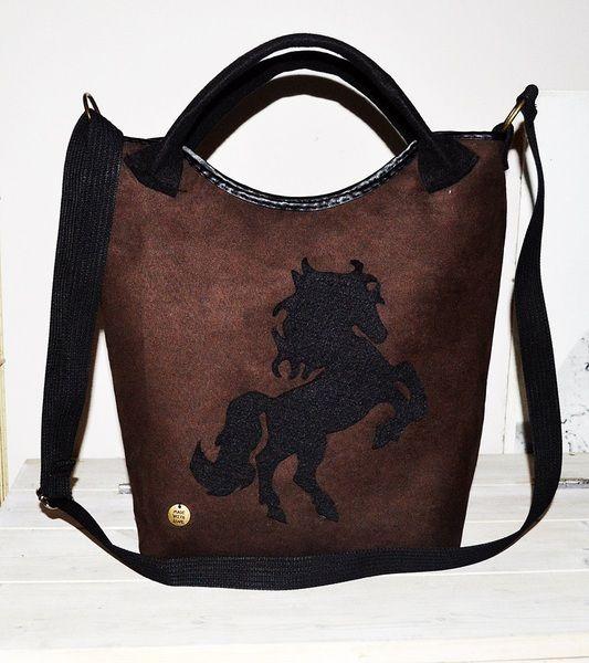 Torba torebka z zamszu i filcu z koniem na prezent w UniQueBags na DaWanda.com