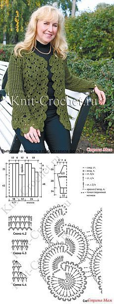 Cardigan of tape lace, crocheted.  - Knitted fashion + NEMODELNYH FOR LADIES - Home Moms