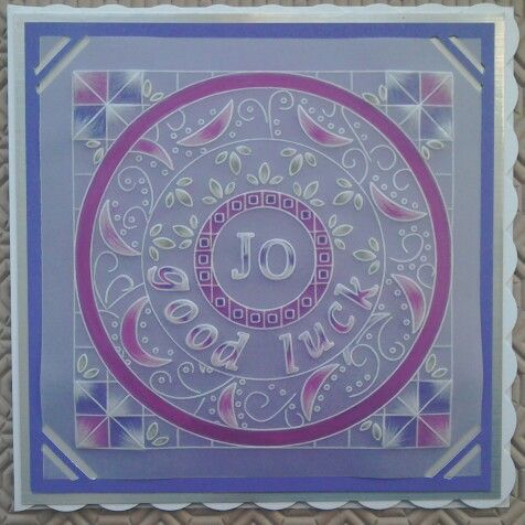 Groovi plates by Clarity stamps used on this parchment good luck card - by Lynne Lee