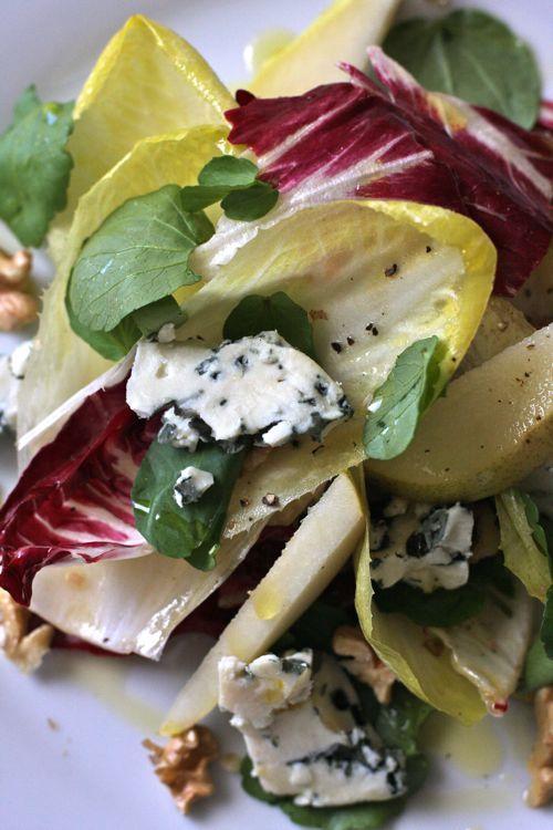 tricolor salad: endive, radicchio, arugula  w/ lemon vinaigrette and grana padano or  roquefort, pear and walnuts
