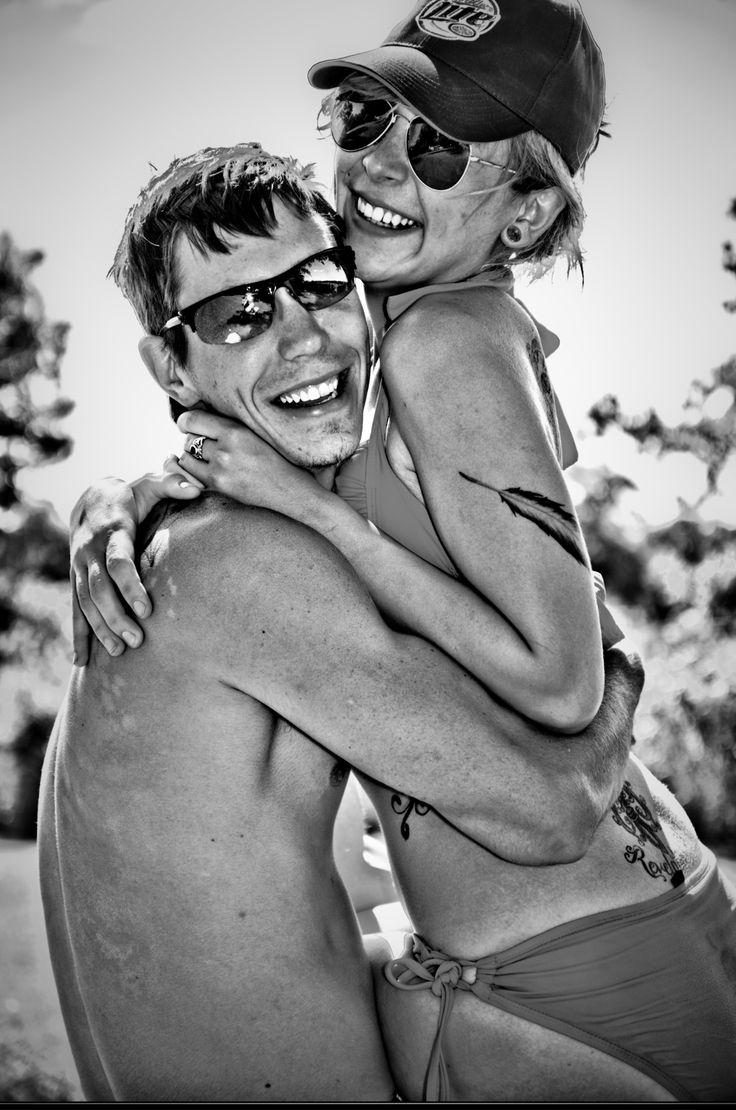 Summer couple pictures bikini lake fun feather tattoo