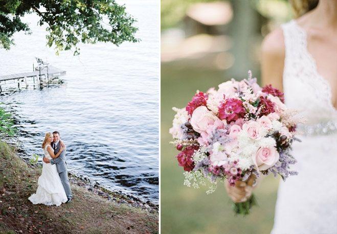 Labor Day wedding in Wisconsin | Bride + groom + bouquet | Wisconsin Bride Magazine