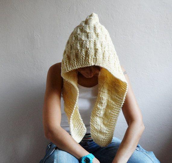 Hooded Cowl Chunky Wool Hood Hooded Scarf Cream Hood by bysweetmom, $50.00