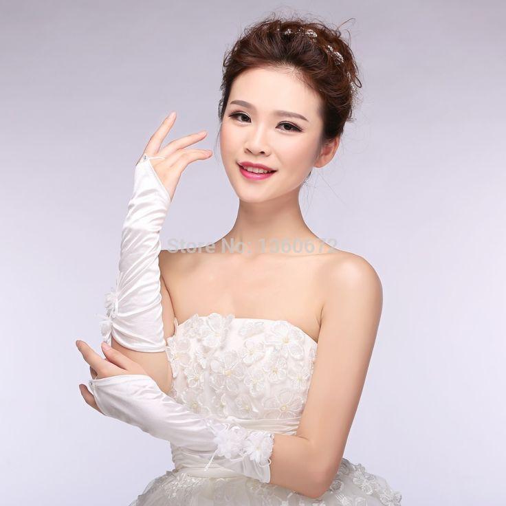 Элегантный красивая мода палец меньше Свадебные Перчатки 2015 Новый Дешевый Прибытие Элегантный Опера длина Свободный Стиль Невесты Перчатки KO979