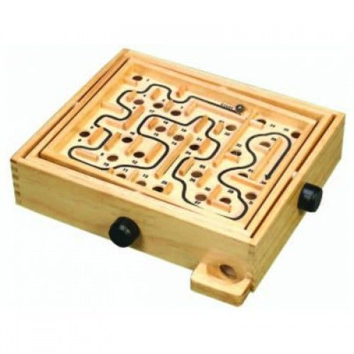 Challenge yourself or your little ones with this ladyrinth including two metal balls.