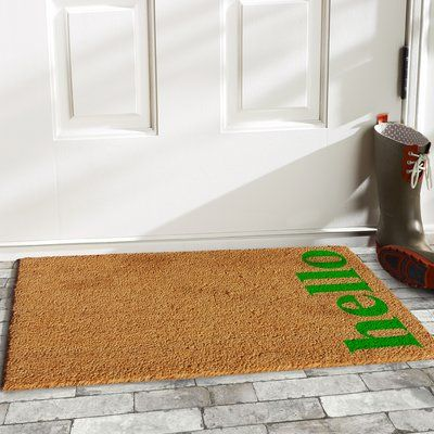 Varick Gallery Helsley Vertical Hello Doormat Rug Size 1 4 X 2 4 Color Natural Green Hello Doormat Door Mat Outdoor Door Mat