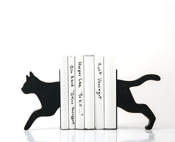 Wooden Bookends Running Cat Decorative Book Holders
