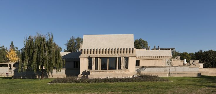 """Hollyhock House,"" designed by architect Frank Lloyd Wright for oil heiress Aline Barnsdall and built in 1921, is now a National Historic Landmark in Barnsdall Art Park in East Hollywood, Los Angeles, California. Photo, 2013, by Carol M. Highsmith, part of the Jon B. Lovelace Collection of California Photographs in Carol M. Highsmith's America Project, Library of Congress, Prints and Photographs Division."