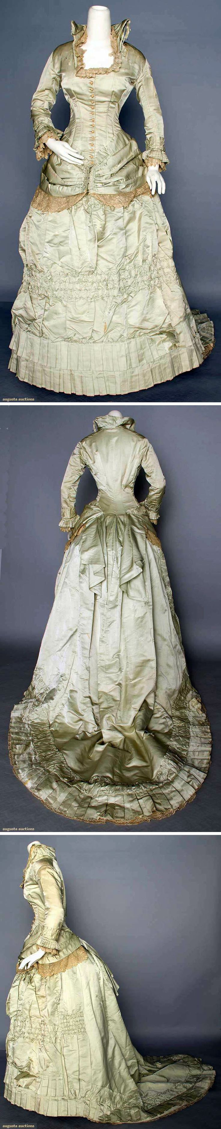 Dress ca. 1870s.Two pieces; pale green silk satin. Augusta Auctions