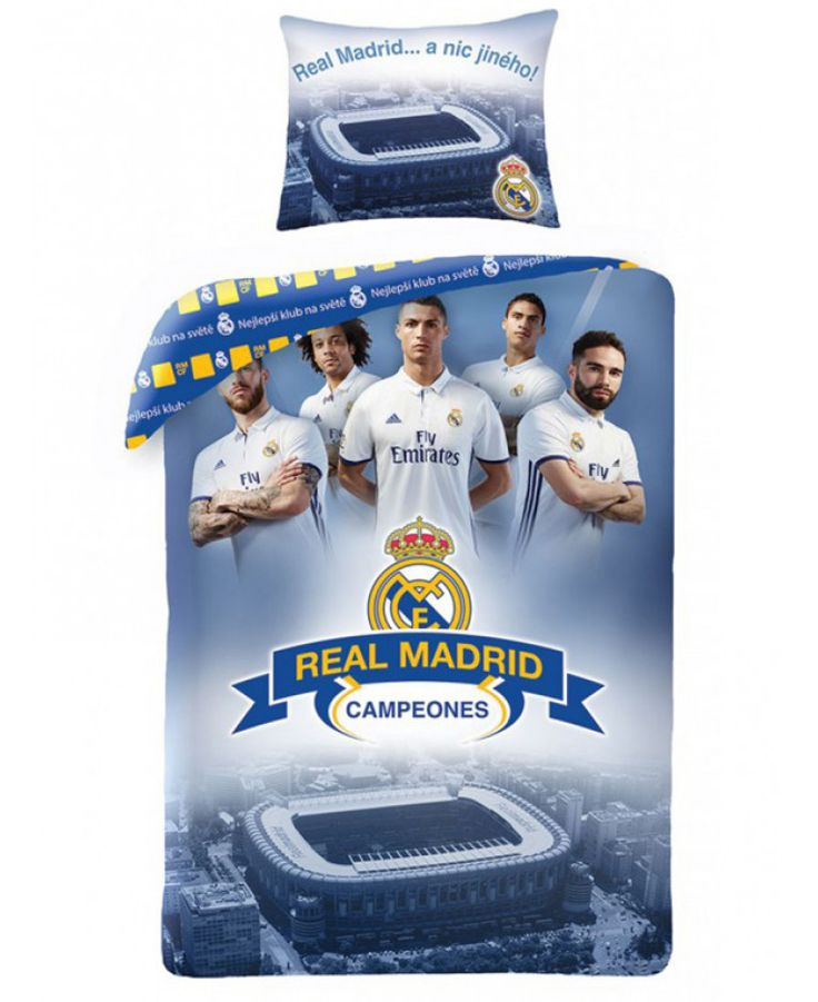 This Real Madrid CF Ronaldo Champions Single Duvet Cover Set features Ronaldo, Varane, Ramos, Carvajal and Marcelo. Free UK delivery available