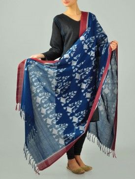 Blue-Red Ikat Cotton Dupatta