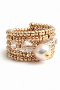 Fresh Water Pearl & Gold Memory Wire Ring