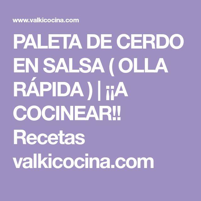PALETA DE CERDO EN SALSA ( OLLA RÁPIDA ) | ¡¡A COCINEAR!! Recetas valkicocina.com