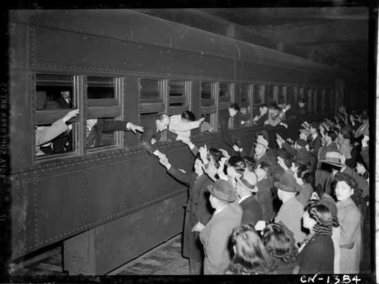 Japanese leaving Vancouver for the Interior 1942