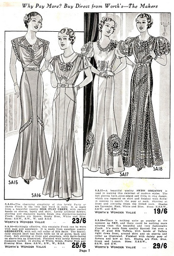 Elegant evening looks from Worth's Spring & Summer 1937. #vintage #1930s #fashion #illustrations