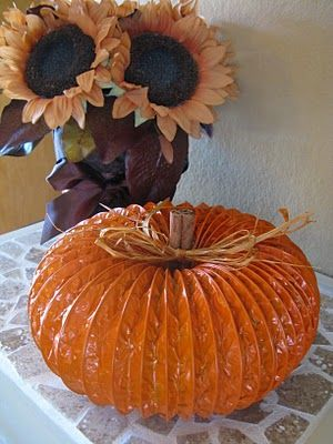 TO DO: Upcycle a bit of dryer vent metal to create this cute pumpkin. These would make great table centerpieces or cute gifts    dryer vent pumpkin.: Holiday, Pumpkin Decoration, Craft, Dryer Vent Pumpkin, Cinnamon Sticks, Fall Ideas, Fall Halloween, Vent Pumpkins, Metal Pumpkin