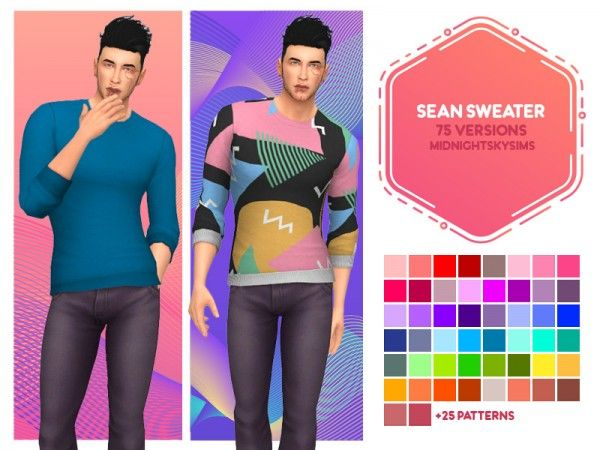 Sean sweater by midnightskysims | Sims 4 | Sims 4, Sims