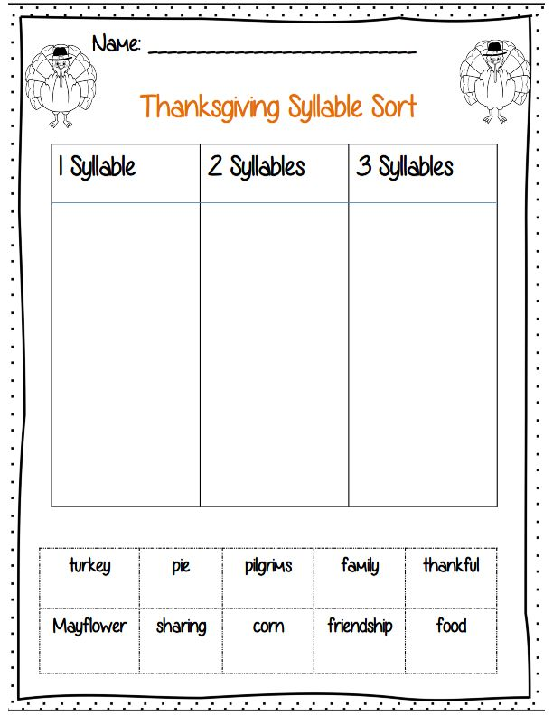 Thanksgiving syllable sort part of 22 pg math and ELA common core ...