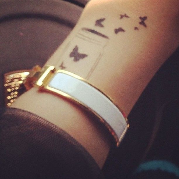 Tiny Sweet Butterfly Tattoo On Wrist For Women
