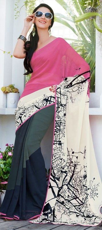 140316: Multicolor color family Saree with matching unstitched blouse.