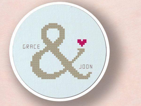 Couple Ampersand Love. Personalizable Cross Stitch Pattern Custom PDF File. $10.00, via Etsy.