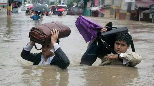 Our Faithful Brothers in the Philippines going to the meeting, after 2013 hurricane.
