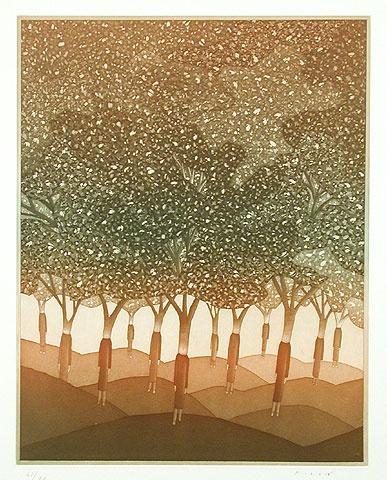 Jean-Michel FOLON  (Belgique, 1934-2005)  L'homme qui plantait des arbres, 1982