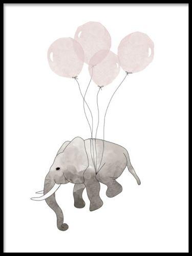 Malerier og plakater for barnerom med elefant og ballonger