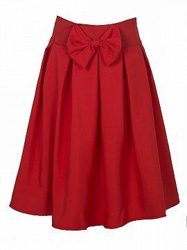 Red Bowknot Waist Midi Skater Skirt