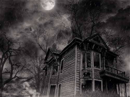 write a scary story about spending the night in this haunted house on halloween