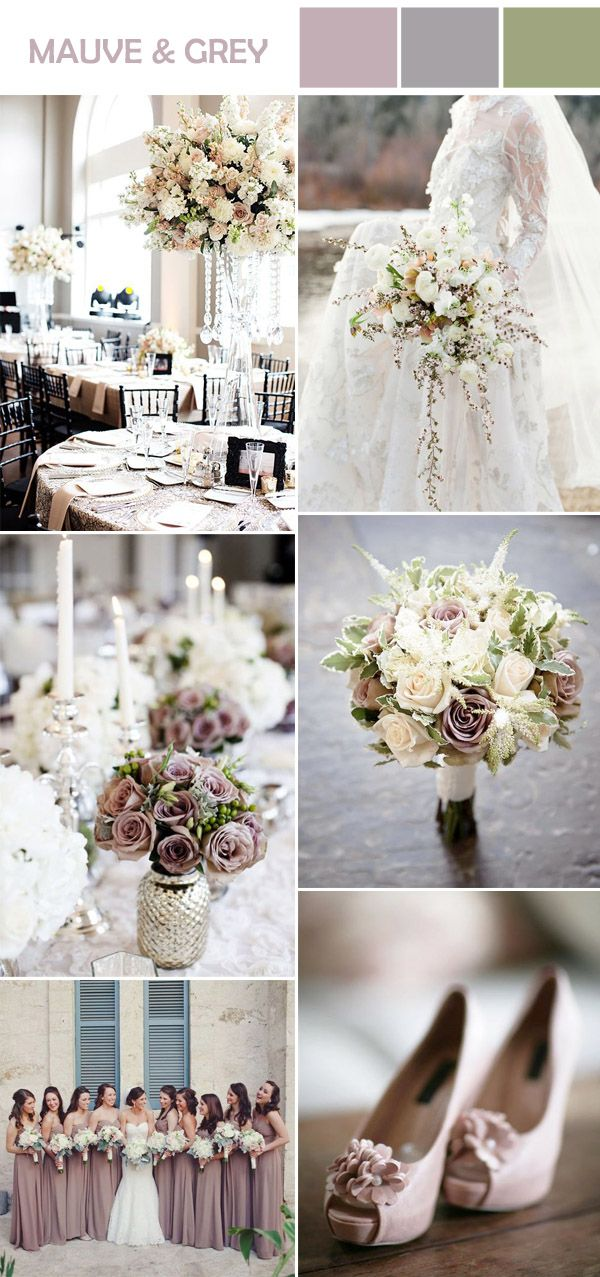romantic and formal mauve and gray wedding color ideas