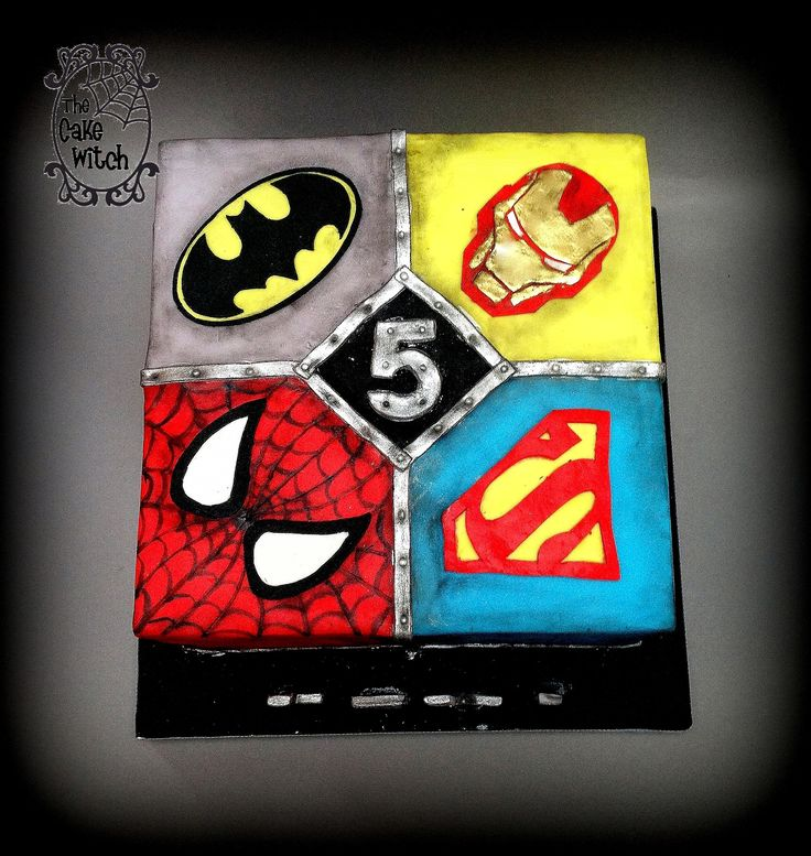 Avengers/ Superheroes Square Birthday Cake - batman, spiderman, superman, ironman