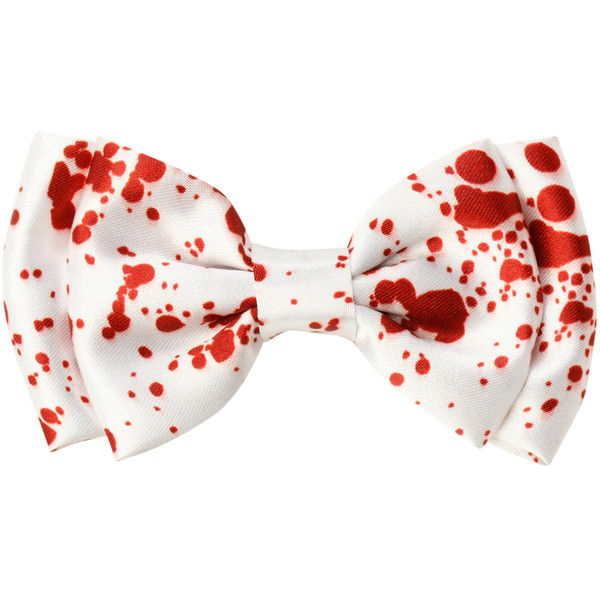 Blood Splatter Hair Bow | Hot Topic ($3.50) ❤ liked on Polyvore featuring accessories, hair accessories, bows, hair stuff, white hair accessories, hair bows, white hair bow, red hair bow and hair bow accessories