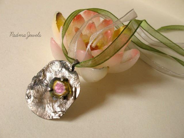 Watermelon tourmaline, fused silver, organza, rough stones, spiritual stones , spiritual jewelry, handmade by PadmaJewels