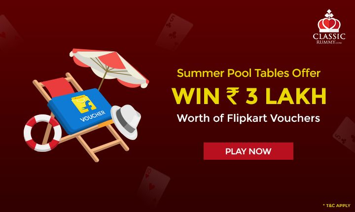 Play Pool rummy games & win Flipkart vouchers worth ₹ 3 LAKH this April only at Classic Rummy!!!  https://goo.gl/Eo8GIi  #rummy #classicrummy #onlinerummy #rummycards #flipkart #vouchers #poolrummy #rummygames #poolrummygames #april #cardgames #Indianrummy