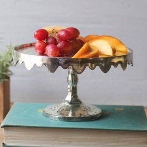 Antiqued Silver Scalloped Glass Pedestal