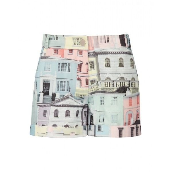 Ted Baker LELAH - Regency houses printed shorts ($122) ❤ liked on Polyvore featuring shorts, light grey, zipper shorts and ted baker