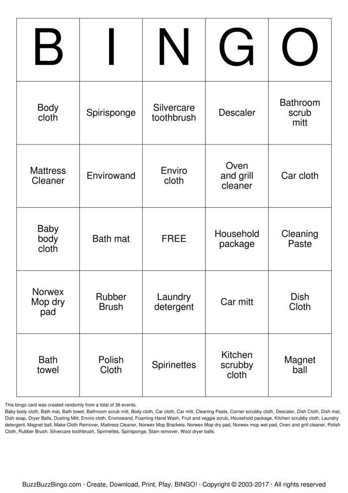 NORWEX Bingo Cards Printable
