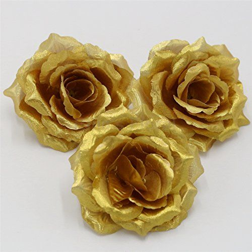 Silk Flowers Wholesale 100 Artificial Silk Rose Heads Bulk Flowers 10cm For Flower Wall Kissing Balls Wedding Supplies Gold >>> Be sure to check out this awesome product. Note: It's an affiliate link to Amazon.