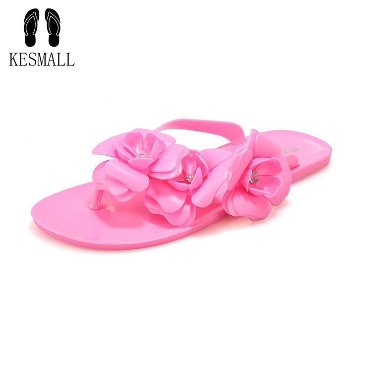 New Fashion Womens Camellia Flower Jelly Flat Sandals Ladies Sexy T Strap Summer Beach Slippers Shoes Black Beige Flip FlopsWS13