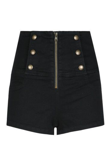 Pantaloncini Neri con Bottoni