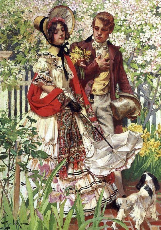 J. C. Leyendecker - The garden walk: