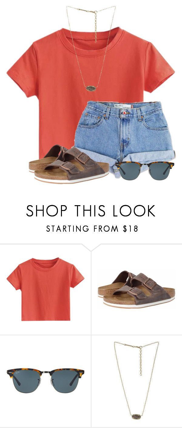 """Tennis Districts "" by flroasburn on Polyvore featuring Levi's, Birkenstock, Ray-Ban and Kendra Scott"