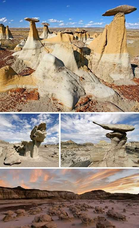 """Bisti/De-Na-Zin Wilderness or Bisti Badlands, Farmington, New Mexico - the name Bisti (pronounced """"Bis-tie"""") is derived from the Navajo language who used it to describe """"a large area of shale hills."""" The 38,305 acre wilderness predominantly features Kirtland Shale and various sedimentary rocks of the Fruitland Formation."""