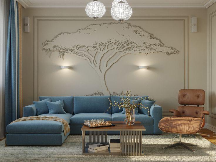 Стена за диваном декорирована с помощью объемной штукатрурки и дополнительно подсвечена бра.